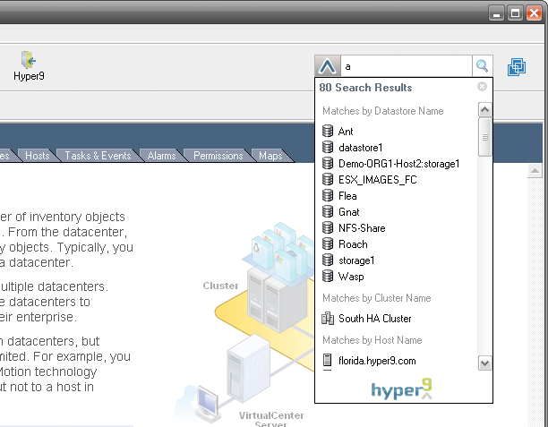 The H9Labs Search Bar Plug-in for VI3 in action