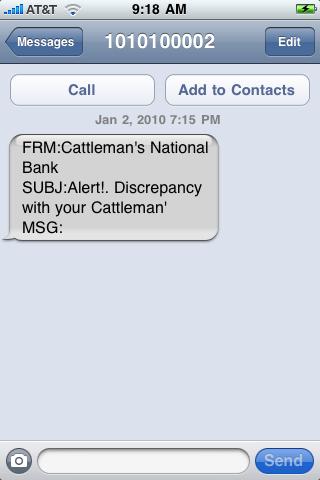 Cattleman's National Bank Fake Text Message