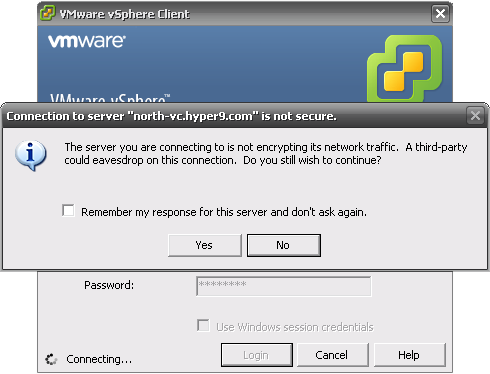 Connecting to a vCenter server with the vSphere client using HTTP