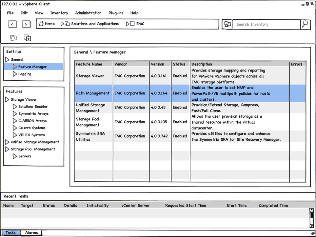 VSI 4.0 - Feature Manager - Mockup